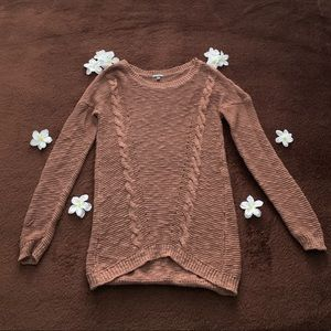Red-Brown Cable Knit Sweater